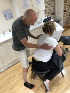 Showing part of an On-Site/Seated Massage routine